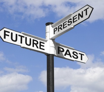 Concept image of a Future Past & Present signpost against a blue cloudy sky