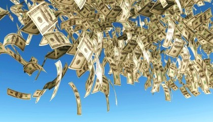 one hundred dollars banknote rain